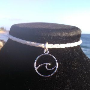 Silver Ocean Wave White Leather Necklace